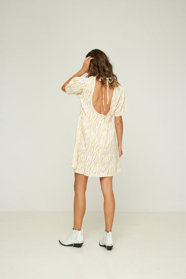 Rue Stiic Collins Mini Dress Le Tigre Sand, free shipping, Sustainable dresses, ethical dresses, statement dresses, linen dresses, cotton dresses, animal print dresses, A-line dresses, handmade dresses, summer dresses, laid back luxe dresses, bohemian dresses, off duty dresses on duty dresses, wardrobe staples