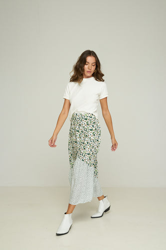 Sustainable clothing brands, Rue Stiic Sheffield Skirt Emerald Posy Floral Confetti Mix, free shipping, Sustainable skirts, ethical skirts, Rayon skirts, Viscose skirts, Midi skirts, Dual print skirts, laid back luxe skirts, summer skirts