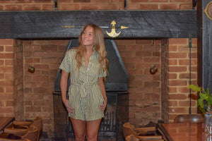 RUE STIIC | TYLER ROMPER - COPPERFIELD STRIPE - SAGE