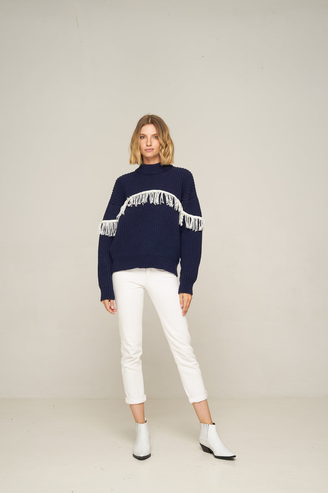 Rue Stiic Valentine Fringed Knit Navy with White Fringe Womens Wool Knit knitwear Womens Navy Knit knitwear Free Express Shipping Free Returns Free Standard Shipping Worldwide Afterpay $20 off your first order