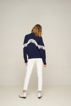 Load image into Gallery viewer, Rue Stiic Valentine Fringed Knit Navy with White Fringe Womens Wool Knit knitwear Womens Navy Knit knitwear Free Express Shipping Free Returns Free Standard Shipping Worldwide Afterpay $20 off your first order