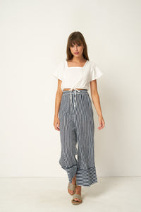 Wyatt Pant by Rue Stiic online at Jessie sue with FREE EXPRESS shipping in Australia, no minimum spend, AFTERPAY, RETURNS, 100% SAFE & SECURE.  Rue Stiic Wyatt Pant - Copperfield Stripe Morrocan Blue are made from 100% cotton and feature a hand screen printed stripe