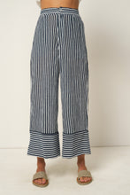 Load image into Gallery viewer, Wyatt Pant by Rue Stiic online at Jessie sue with FREE EXPRESS shipping in Australia, no minimum spend, AFTERPAY, RETURNS, 100% SAFE & SECURE.  Rue Stiic Wyatt Pant - Copperfield Stripe Morrocan Blue are made from 100% cotton and feature a hand screen printed stripe
