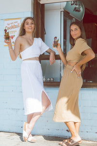Sustainable Clothing Brands, Resort wear Australia, Sustainable clothing, Remi Lane Designs, Cali Midi Skirt White, Free Express Shipping