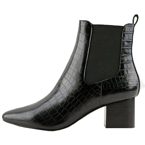 Teddy Boot Black Croc by Sol Sana Online at Jessie with FREE EXPRESS shipping & FREE RETURNS in Australia. FREE STANDARD shipping WORLDWIDE (minimum spend $150), AFTERPAY.  $20 OFF your first order, 100% SAFE & SECURE. Heel height: 6cm  100% leather upper 100% leather inner Synthetic sole  Stacked wood heel