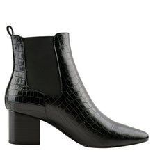 Load image into Gallery viewer, Teddy Boot Black Croc by Sol Sana Online at Jessie with FREE EXPRESS shipping & FREE RETURNS in Australia. FREE STANDARD shipping WORLDWIDE (minimum spend $150), AFTERPAY.  $20 OFF your first order, 100% SAFE & SECURE. Heel height: 6cm  100% leather upper 100% leather inner Synthetic sole  Stacked wood heel