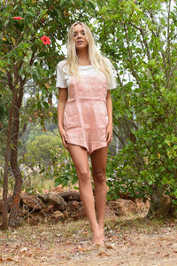 Thatch + Catcher Cleo Dungarees tea rose, free shipping, Thatch + Catcher Dungarees, sustainable dungarees, ethical dungarees, tea rose colour dungarees, linen dungarees, linen playsuits, bohemian dungarees, summer new arrivals