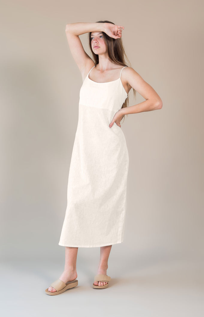 Sustainable clothing brands, The Bare Road Anouk Dress Bone, free shipping, Sustainable dresses, ethical dresses, bone dresses, cotton dresses, midi dresses, mid-length dresses, day dresses, Sunday dresses, summer dresses, laid back luxe dresses, bohemian dresses, women's loungewear australia