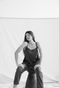 Sustainable clothing brands, The Bare Road Ella Jumpsuit Chocolate, free shipping, sustainable jumpsuits, ethical jumpsuits, Womens Jumpsuits, chocolate jumpsuits, ribbed cotton jumpsuits, winter jumpsuits, casual jumpsuits, relaxed jumpsuits, drop crotch jumpsuits, laid back luxe jumpsuits, bohemian jumpsuits