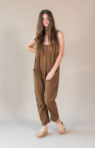 Sustainable clothing brands, The Bare Road Ella Jumpsuit Chocolate, free shipping, sustainable jumpsuits, ethical jumpsuits, Womens Jumpsuits, chocolate jumpsuits, ribbed cotton jumpsuits, winter jumpsuits, casual jumpsuits, relaxed jumpsuits, drop crotch jumpsuits, laid back luxe jumpsuits, bohemian jumpsuits, women's loungewear australia