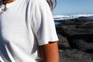 The Bare Road Everyday Hemp Tee White, Free shipping, Sustainable hemp tees, Ethical hemp tees, Hemp Basics, White tees, Sustainable basics, Bohemian tees, Basic tees, summer new arrivals, women's loungewear australia