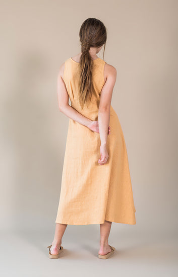 The Bare Road Alice Dress Sunburst, free shipping, Sustainable dresses, ethical dresses, sunburst dresses, linen dresses, rayon dresses, feminine dresses, summer dresses, laid back luxe dresses, bohemian dresses, wardrobe staples, women's loungewear australia