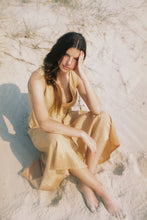 Load image into Gallery viewer, The Bare Road Alice Dress Sunburst, free shipping, Sustainable dresses, ethical dresses, sunburst dresses, linen dresses, rayon dresses, feminine dresses, summer dresses, laid back luxe dresses, bohemian dresses, wardrobe staples, women's loungewear australia