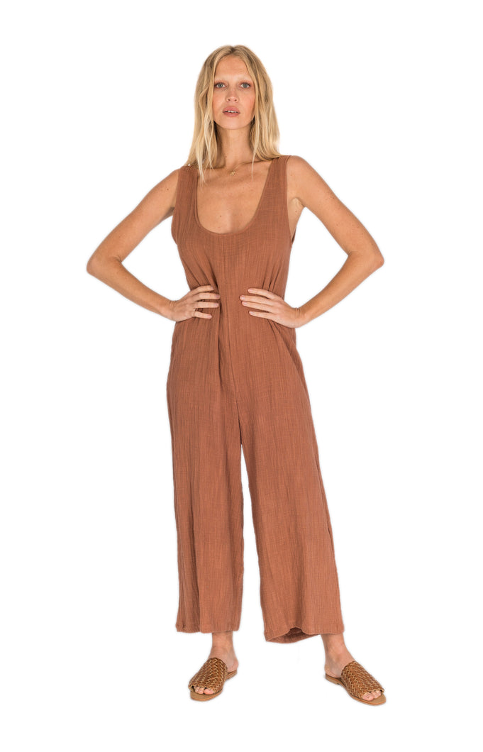 The Bare Road Charley Jumpsuit Maple Brown Womens Jumpsuit Free Express Shipping Free Returns Free Standard Shipping Worldwide Afterpay women's loungewear australia