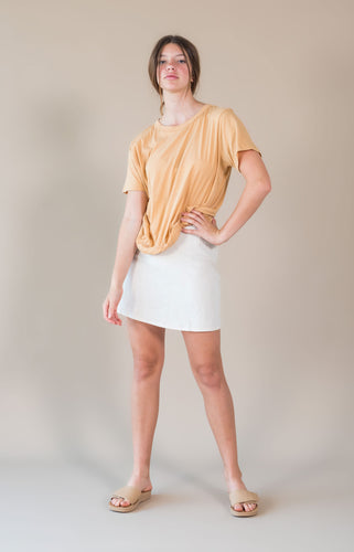 The Bare Road Summer Basic Tee Sunburst, free shipping, Sustainable t-shirts, ethical t-shirts, cotton t-shirts, summer t-shirts, laid back luxe t-shirts, bohemian t-shirts, wardrobe staples, women's loungewear australia