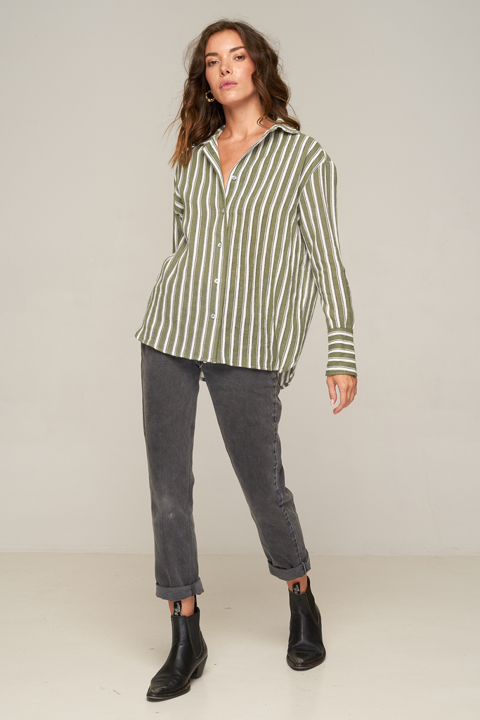 Verde Shirt – Grey Green Stripe by Rue Stiic Else Online at Jessie with FREE EXPRESS shipping & FREE RETURNS in Australia. FREE STANDARD shipping WORLDWIDE (minimum spend $150), AFTERPAY.  $20 OFF your first order, 100% SAFE & SECURE. The Verde Shirt is a boxy, button-up shirt, featuring V-shaped back yoke, big western cuffs with button detail and scalloped hem. 100% Cotton. Collared. Boxy, button-up shirt. V-shaped back yoke. Handmade lovingly in Bali, Indonesia
