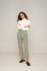 Amanda Pant – Grey Green Stripe by Rue Stiic Else Online at Jessie with FREE EXPRESS shipping & FREE RETURNS in Australia. FREE STANDARD shipping WORLDWIDE (minimum spend $150), AFTERPAY.  $20 OFF your first order, 100% SAFE & SECURE. Amanda Pants are made from cotton and feature a hand printed check pattern with a high rise cut and cigarette fit leg. With a zip front, elastic waistband in the back panel and two side pockets. The cropped length works perfectly with boots or a slip on sandal.