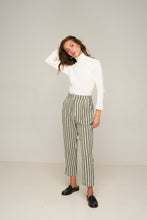 Load image into Gallery viewer, Amanda Pant – Grey Green Stripe by Rue Stiic Else Online at Jessie with FREE EXPRESS shipping & FREE RETURNS in Australia. FREE STANDARD shipping WORLDWIDE (minimum spend $150), AFTERPAY.  $20 OFF your first order, 100% SAFE & SECURE. Amanda Pants are made from cotton and feature a hand printed check pattern with a high rise cut and cigarette fit leg. With a zip front, elastic waistband in the back panel and two side pockets. The cropped length works perfectly with boots or a slip on sandal.