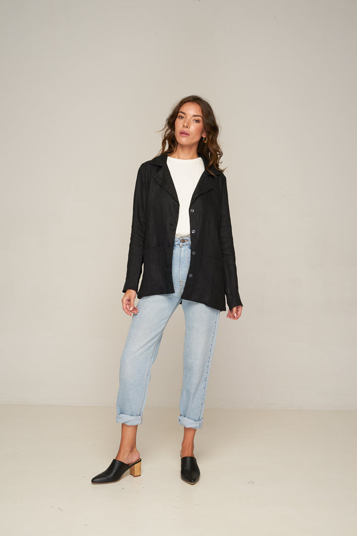 Surry Blazer - Black by Rue Stiic Online at Jessie with FREE EXPRESS shipping & FREE RETURNS in Australia. FREE STANDARD shipping WORLDWIDE (minimum spend $150), AFTERPAY.  $20 OFF your first order, 100% SAFE & SECURE. The Surry Blazer is cut from lightweight linen blend and has a soft rayon lining. The flattering shape has a relaxed feel and features buttons closure, soft collar and two patch pockets 55% Linen