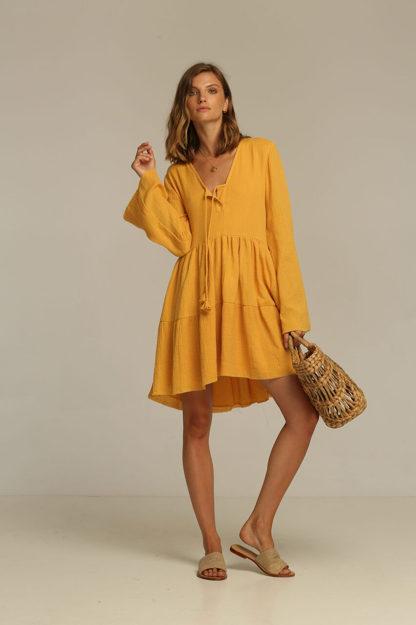 RUE STIIC TUCSON DRESS HONEY tiered A-line mini dress long bell sleeves Brushed cotton A-line Free Express Shipping within Australia Afterpay available