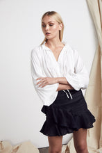 Load image into Gallery viewer, Luciano Skirt Black Linen by MLM Label Online at Jessie with FREE EXPRESS shipping & FREE RETURNS in Australia. FREE STANDARD shipping WORLDWIDE (minimum spend $150), AFTERPAY.  $20 OFF your first order, 100% SAFE & SECURE. Mid rise  Fitted with slight flare Ruffle trimming Invisible zip at the centre back Linen Cotton Blend
