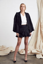 Load image into Gallery viewer, Wrap Linen Blazer Black by MLM Label Online at Jessie with FREE EXPRESS shipping & FREE RETURNS in Australia. FREE STANDARD shipping WORLDWIDE (minimum spend $150), AFTERPAY.  $20 OFF your first order, 100% SAFE & SECURE. This pure Linen blazer has a soft structured fit with a wraparound design and self-tie. Features classic notched lapel. Double welt pocket. Fitted long sleeve. This natural and light linen jacket is fully lined. Shoulder Pads. 100% Linen