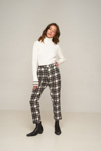 Amanda Pant Black Gold Plaid by Rue Stiic Online at Jessie Sue with FREE EXPRESS shipping & FREE RETURNS in Australia. FREE STANDARD shipping WORLDWIDE (minimum spend $150), AFTERPAY.  $20 OFF your first order, 100% SAFE & SECURE. Amanda Pants are made from cotton and feature a hand printed check pattern with a high