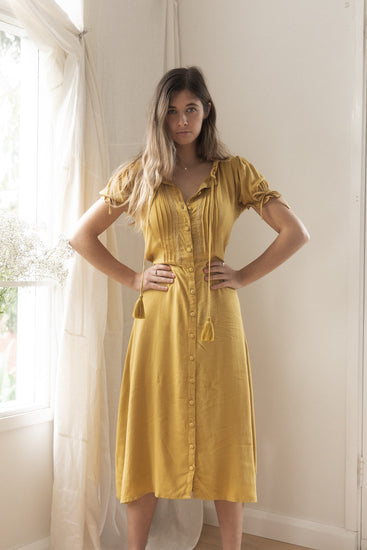 sustainable clothing brands resort wear australia sustainable clothing remi lane designs prairie dress mustard free express shipping midi length