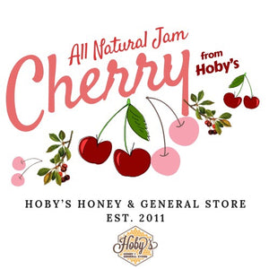 all natural cherry jam graphic