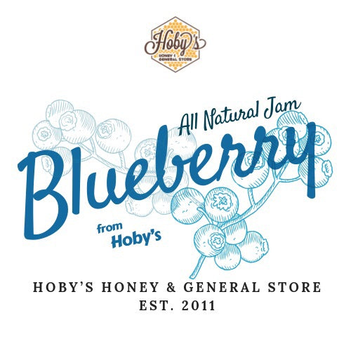 all natural blueberry jam graphic