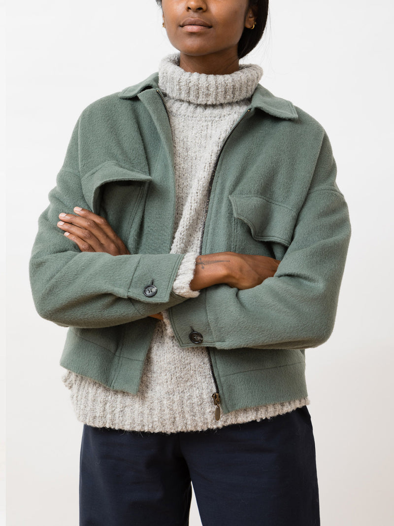 Cloud Alpaca Jacket Stone Green