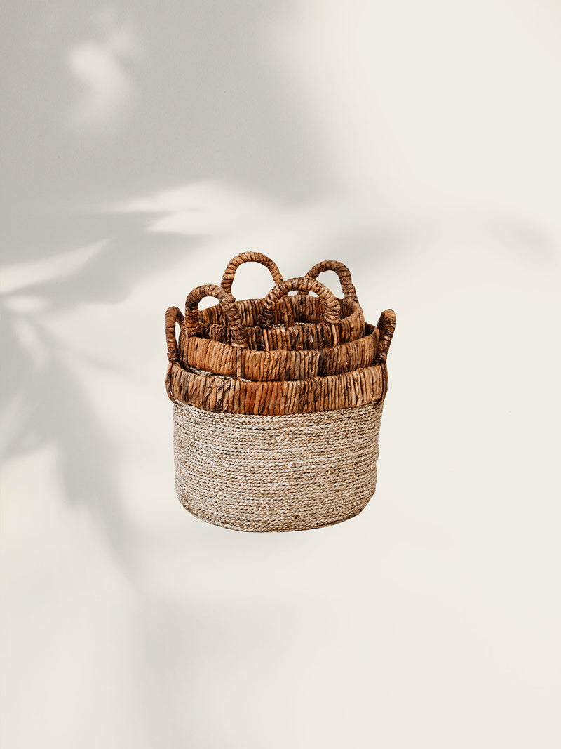 Mix Leaves Natural Basket