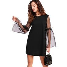Load image into Gallery viewer, Contrast Mesh Sleeve Frilled Detail Tunic Dress