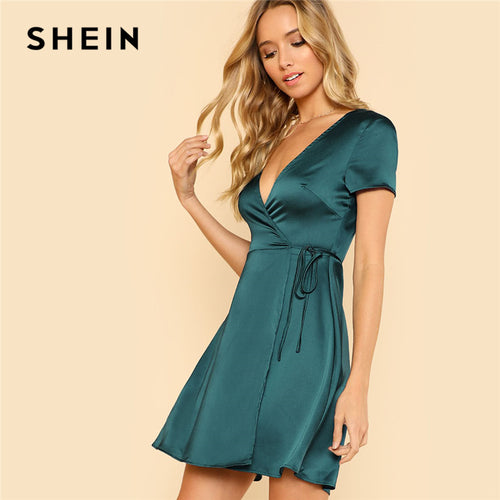 Green Deep V Neck Satin Dress
