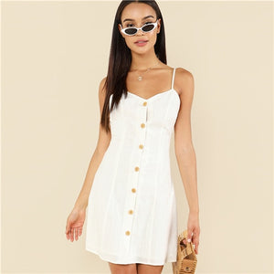 White Elegant Button Up Front Backless Spaghetti Strap Sleeveless