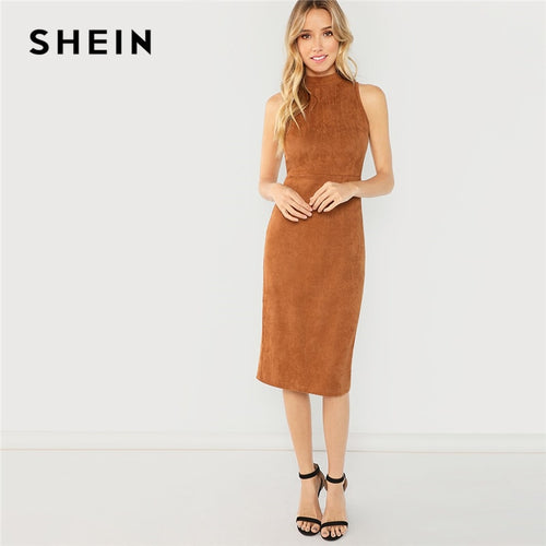 Brown Office Lady Elegant Sleeveless