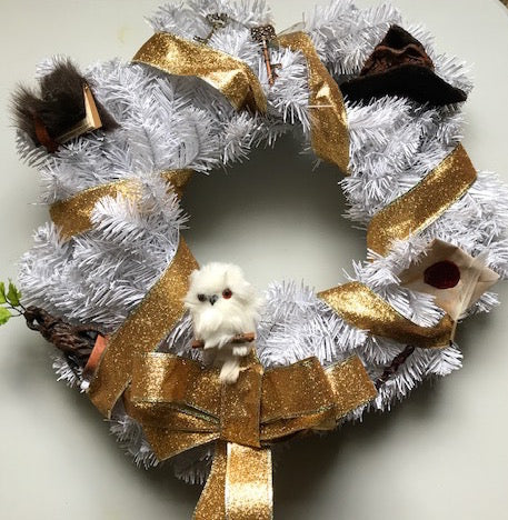 Harry Potter Inspired Holiday Wreath with Mandrake, Flying Key, Owl, Monster Book, Wand, Invitation, Sorting Hat and More