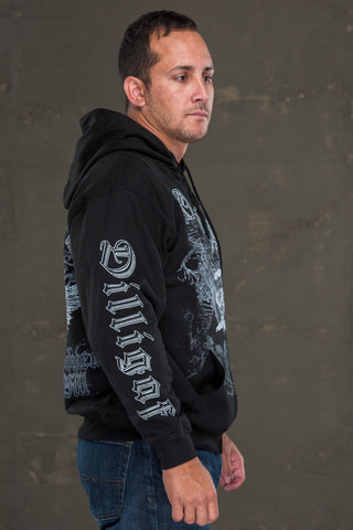 Skull Cross Bone Dagger Zipper Hoody
