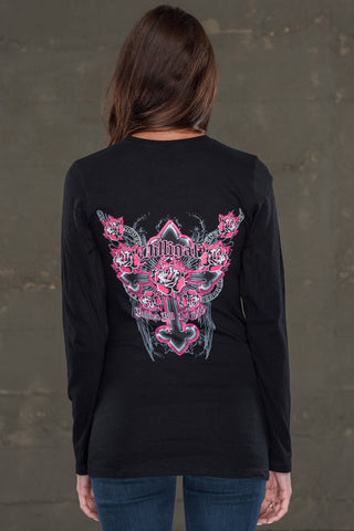 Cross the Rose Black Long Sleeve Shirt