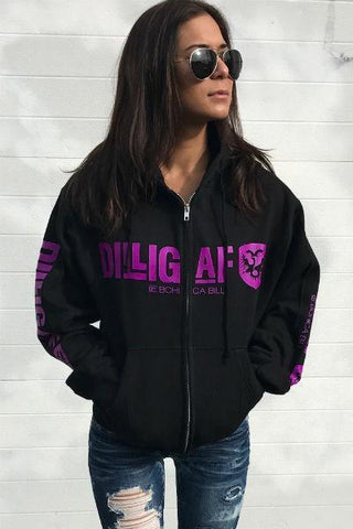 Our Classic DILLIGAF Neon Fullzip Hoodie