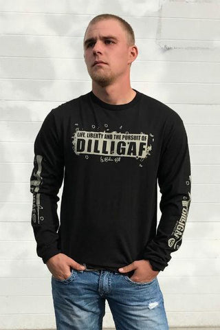 Dilligaf Support and Defend Black Long Sleeve Tee