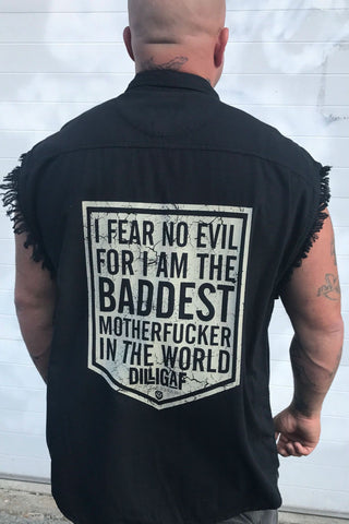 I Fear No Evil... Frayed Button Shirt