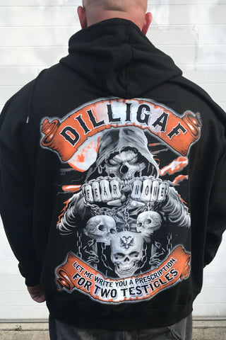 Fear None or Grow 2 Testicles Zip Up Dilligaf Hoody