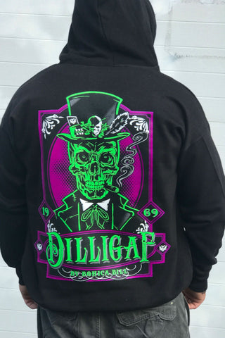 Purple Haze Skull Zip Up Dilligaf Hoody