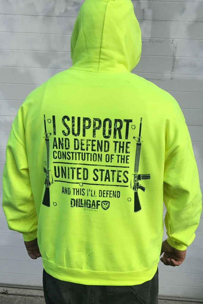 Support and Defend the USA SAFETY GREEN Dilligaf Hoody