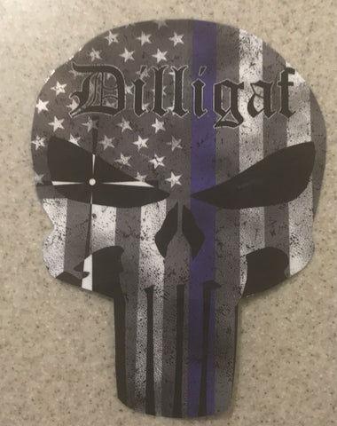 Dilligaf Punisher Blue Lives Matter Sticker