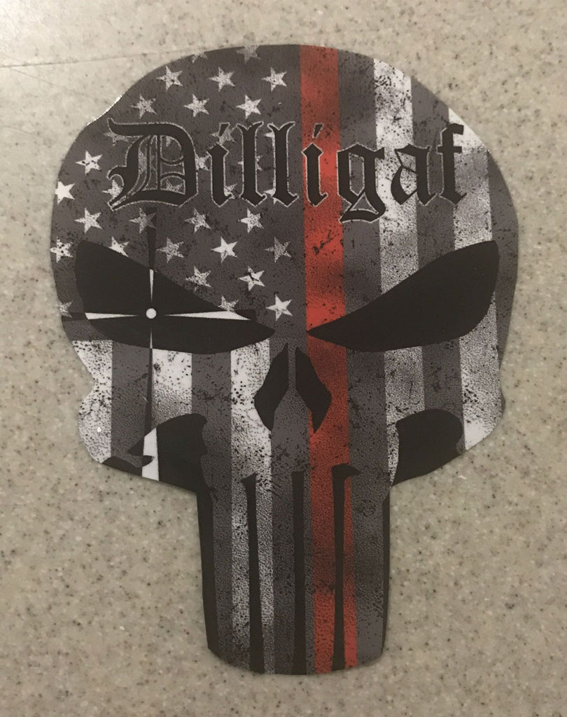 Dilligaf Punisher Red Lives Matter Sticker