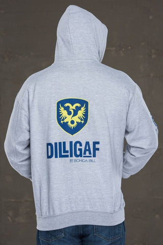 Dilligaf Classic Gray Pullover Hoody with Blue