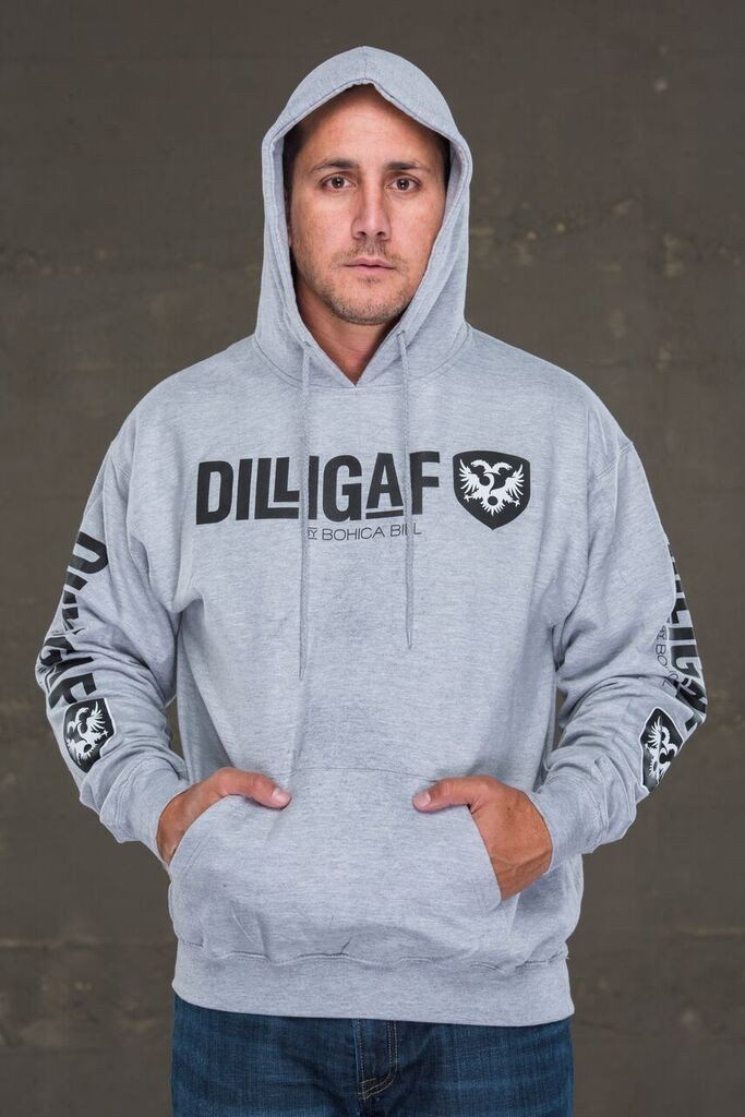 Dilligaf Classic Gray Pullover Hoody with Black Logo