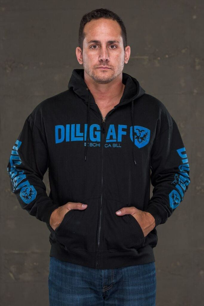 Dilligaf Classic Zip Up Hoody with Blue Logo